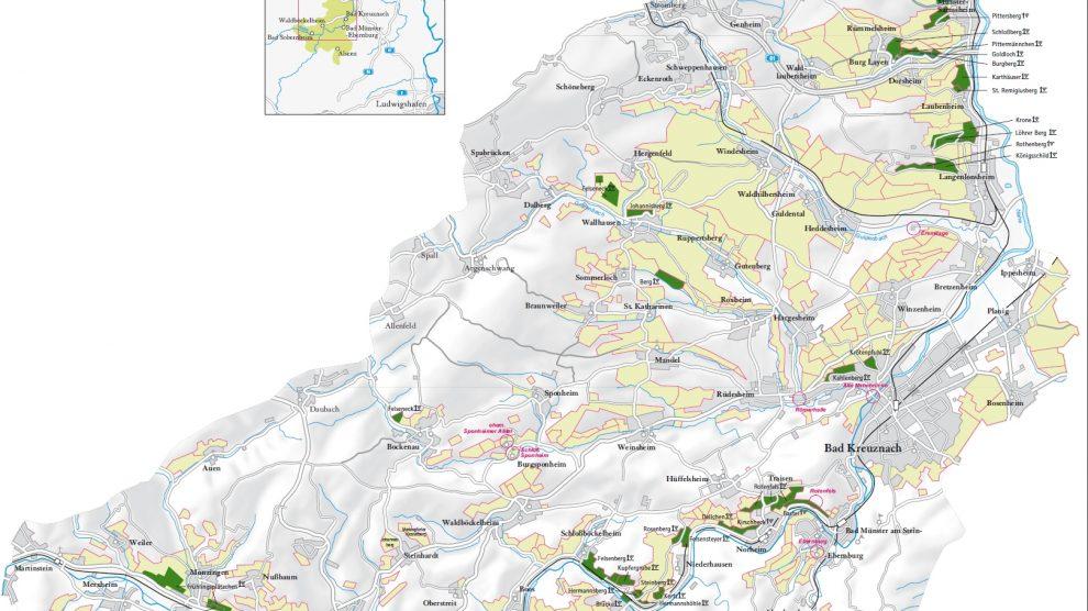Karte der Weinregion Nahe