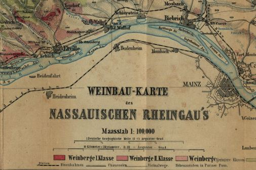 Alte Lagenkarte Rheingau