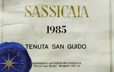 Etikett 1985 Sassicaia | Tenuta San Guido