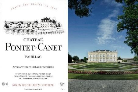 Collage Etikett Pontet-Canet und Chateau