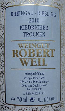 Etikett 2010 Kiedricher Riesling trocken   Weingut Robert Weil