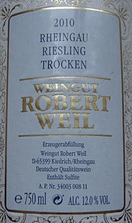 Etikett 2010 Rheingau Riesling trocken   Weingut Robert Weil