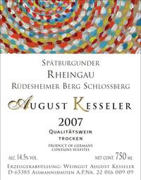 Etikett 2007 Spätburgunder Schlossberg | Weingut August Kessler
