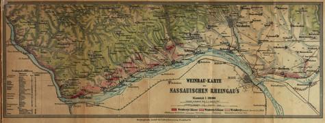 Alte Lagenkarte Rheingau von 1867