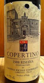 Etikett 1988 Riserva Copertino