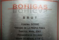 Rücketikett Cava Bohega
