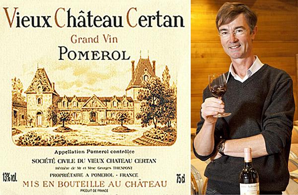 Collage Etikett Chateau Certan und Alexandre Thienpont