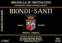 Etikett Brunello di Montalcino Biondi Santi