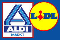 Collage Logos Aldi Nord und Lidl