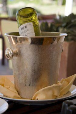 Flasche Wein im Kühler