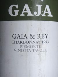 Etikett 1993 Gaia & Rey Chardonnay