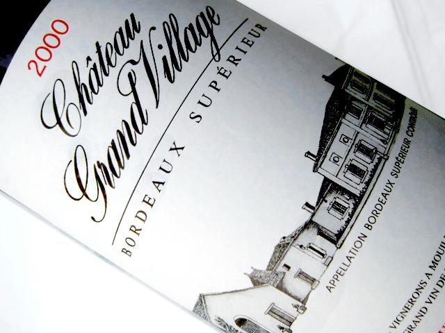 Etikett 2000 Chateau Grand Village