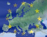 Europakarte mit Sternenkranz