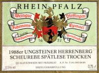 Etikett 1988 Scheurebe Spätlese trocken