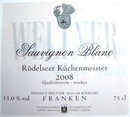 Etikett 2009 Rödelseer Küchenmeister Sauvignon blanc trocken