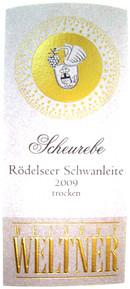 Etikett 2009 Rödelseer Schwanleite Scheurebe Spätlese trocken