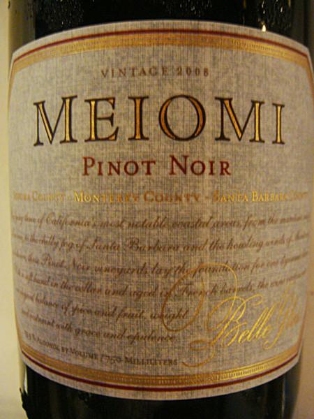 """Etikett 2008 Belle Glos Pinot Noir """"Meiomi"""" 2008 Belle Glos Pinot Noir """"Meiomi"""""""