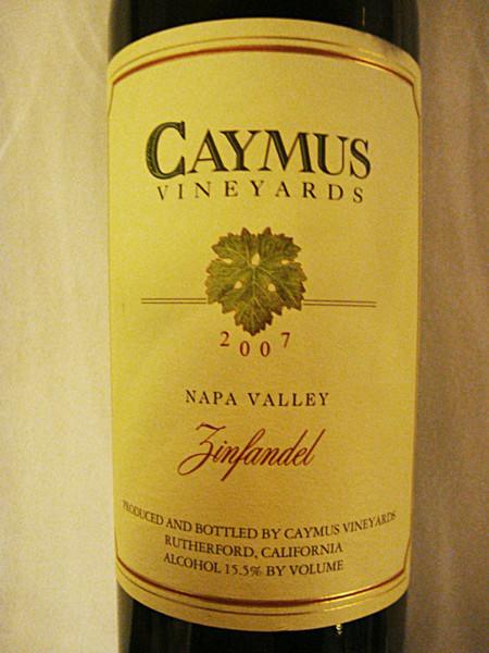 Etikett 2007 Napa Valley Zinfandel, Caymus Vineyards