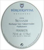Etikett 2009 Würzburger Stein Silvaner Kabinett trocken - Bürgerspital