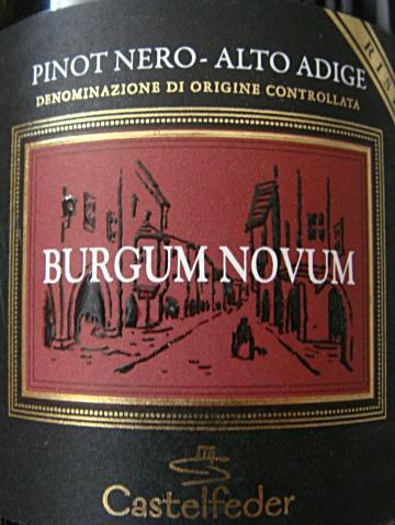 """Etikett 2007 Südtiroler Blauburgunder """"Burgum Novum"""" Riserva - Castelfeder"""