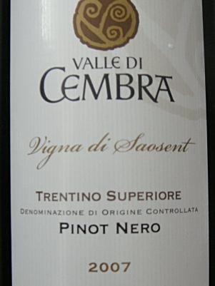 """Etikett 2007 Valle di Cembra Pinot Nero """"Vigna di Saosent"""" - Cantina La Vis e Valle di Cembra"""
