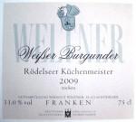 Etikett 2009 Rödelseer Küchenmeister Weißburgunder trocken