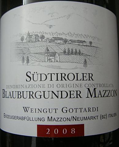"""Etikett 2007 Südtiroler Blauburgunder """"Mazzon"""" - Gottardi"""
