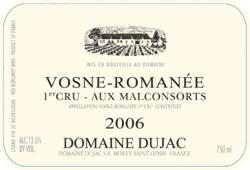 "Etikett 2006 Vosne-Romanée 1er Cru ""Aux Malconsorts"" - Domaine Dujac"