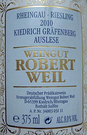 Etikett 2010 Rheingau Riesling Kiedrich Graefenberg Auslese | Weingut Robert Weil