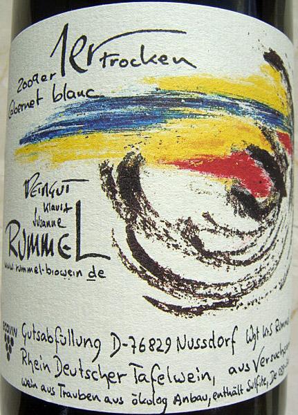 "Etikett 2009 Cabernet blanc ""1er"" trocken"
