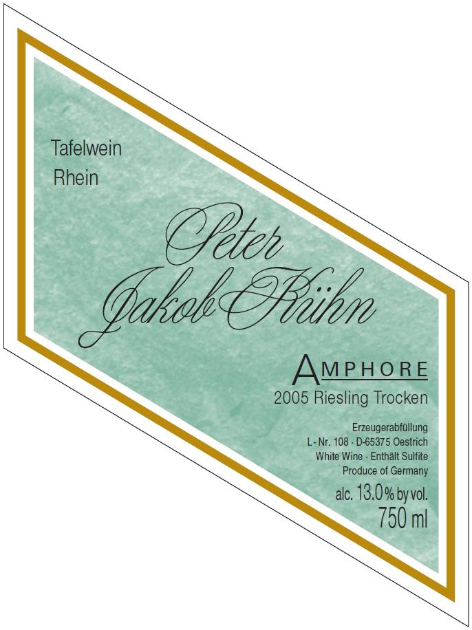 """Etikett 2005 """"Amphore"""" Deutscher Tafelwein - Peter Jakob Kühn"""