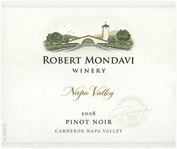 Etikett 2008 Napa Valley Pinot Noir | Robert Mondavi Winery