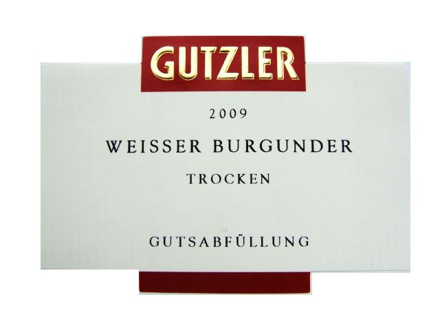 Etikett 2009 Weisser Burgunder trocken | Weingut Gutzler