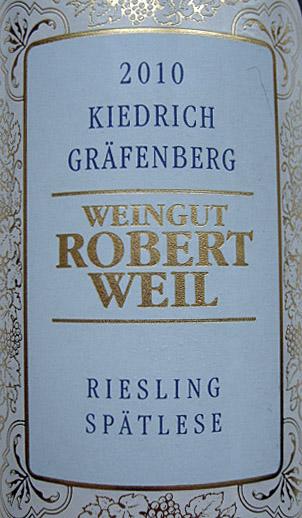 Etikett 2010 Kiedrich Graefenberg Riesling Spaetlese | Weingut Robert Weil