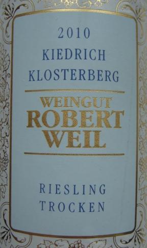 Etikett 2010 Kiedrich Klosterberg Riesling trocken   Weingut Robert Weil