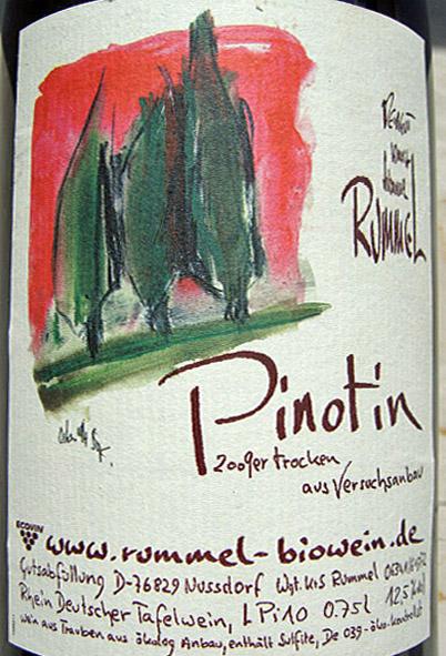 Etikett 2009 Pinotin trocken