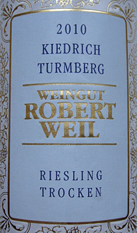 Etikett 2010 Kiedrich Turmberg Riesling trocken   Weingut Robert Weil