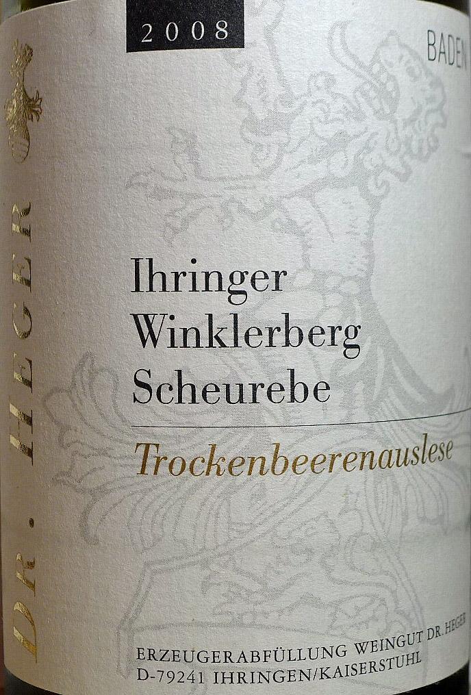 Etikett 2008 Ihringer Winklerberg Scheurebe Trockenbeerenauslese - Weingut Dr. Heger
