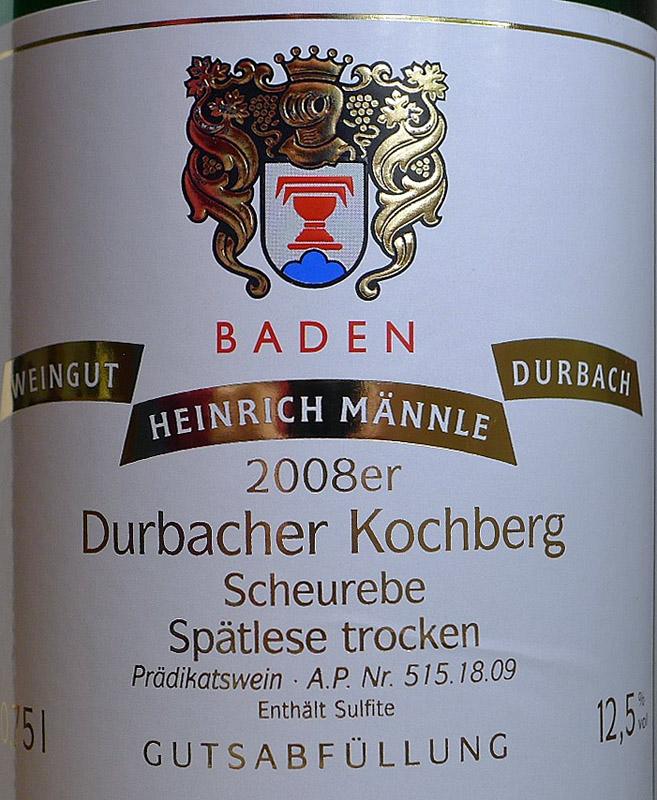 Etikett 2008 Durbacher Kochberg Scheurebe Spaetlese trocken - Weingut Männle