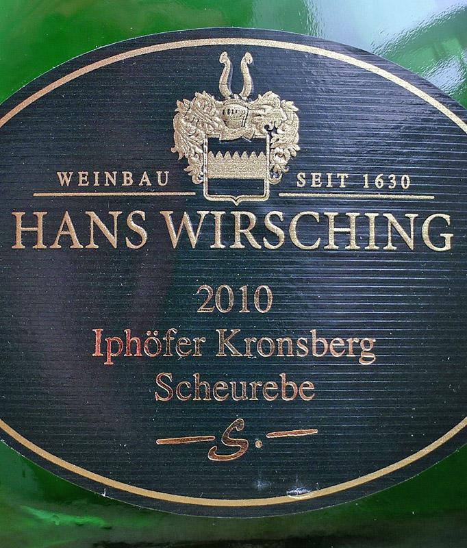 """Etikett 2010 Iphoefer Kronsberg Scheurebe """"S"""" - Weingut Wisching"""