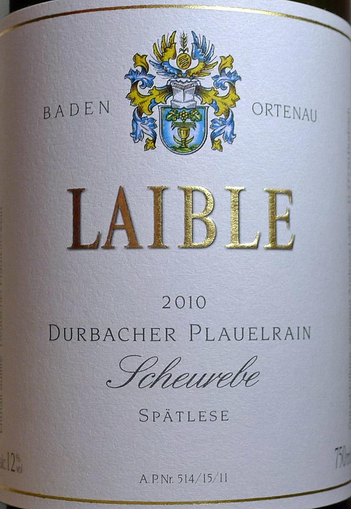 Etikett 2010 Scheurebe Durbacher Plauelrain Spaetlese - Weingut Laible