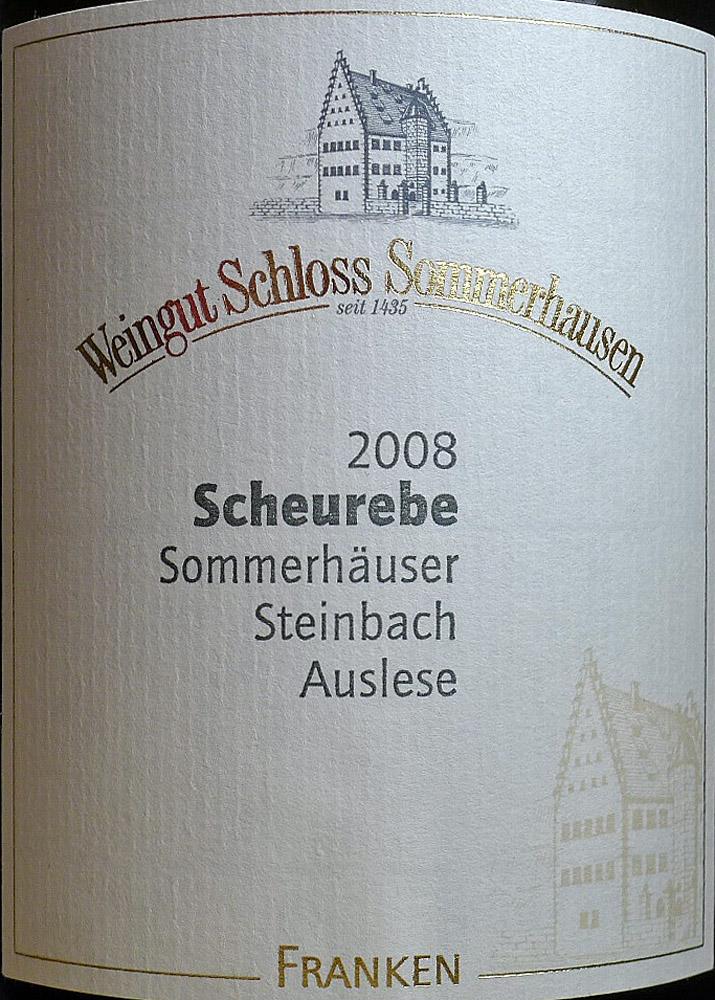 Etikett 2008 Scheurebe Sommerhäuser Steinbach Auslese - Weingut Schloss Sommerhausen