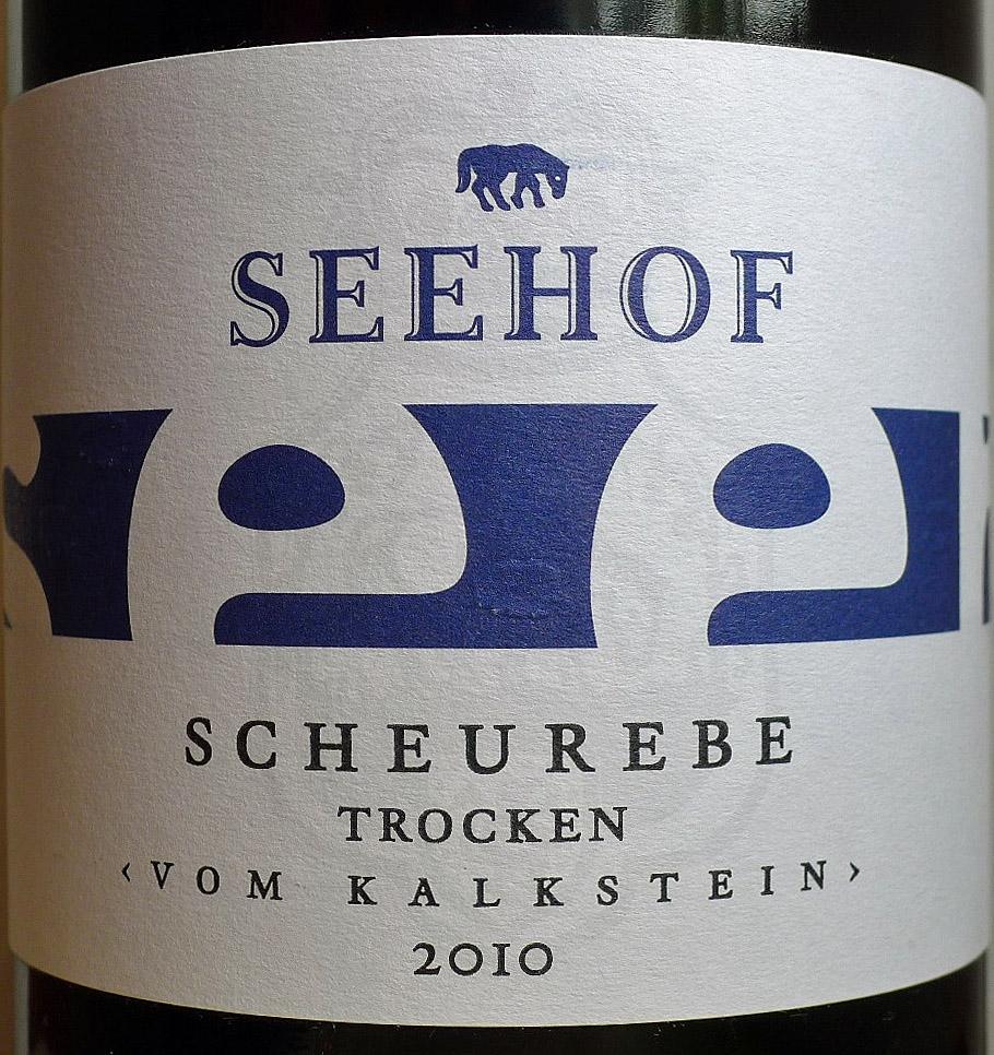 """Etikett 2010 """"vom Kalkstein"""" Scheurebe trocken - Weingut Seehof"""