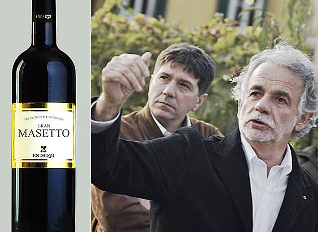 Collage Flasche Gran Masetto von Endrizzi und Patron Paolo Endrici