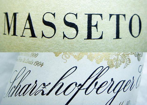 Collage Etiketten Masseto und Scharzhofberger