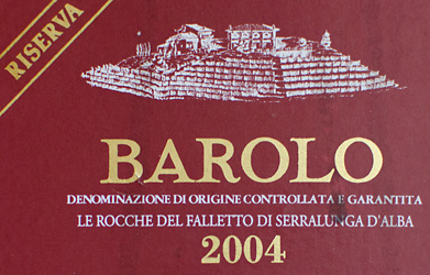 Etikett 2004 Barolo DOCG Riserva - Bruno Giacosa