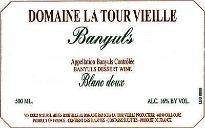 Etikett Banyuls Blanc doux - Domaine La Tour Vieille