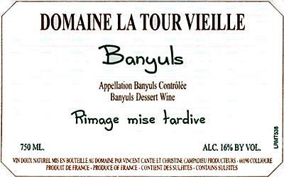 Etikett Banyuls Rimage mise tardive - Domaine La Tour Vieille