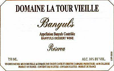 Etikett Banyuls Reserva - Domaine La Tour Vieille