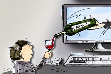 Karikatur Wein im Web 2.0
